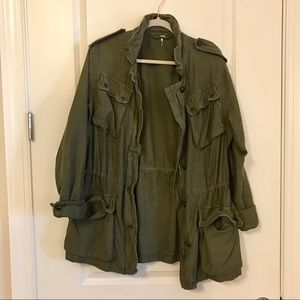 Free People Olive Green Cargo Jacket